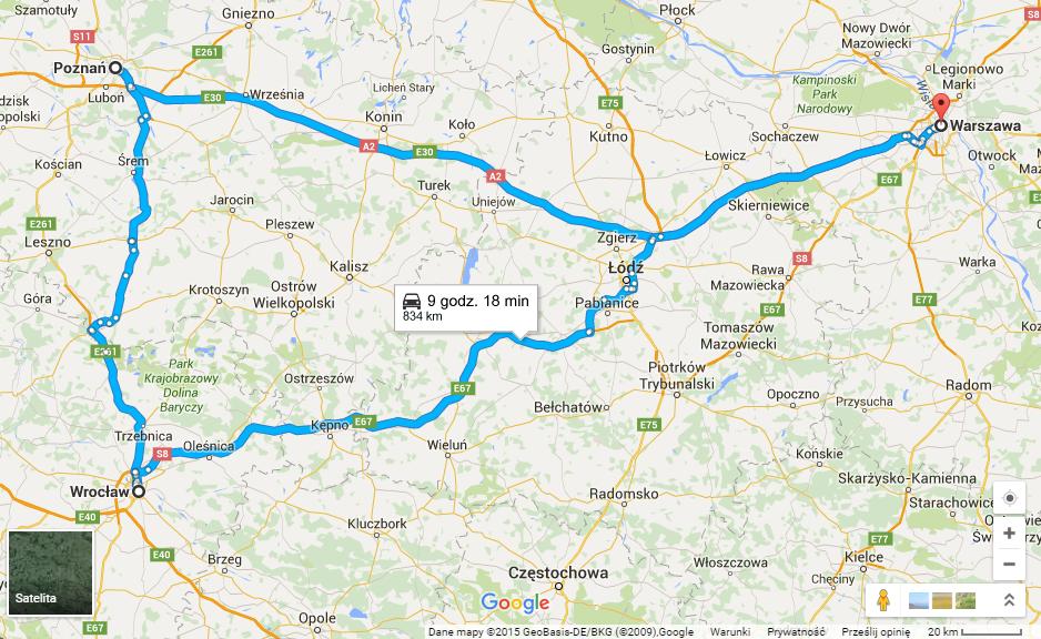 mapa Poznań Wrocław