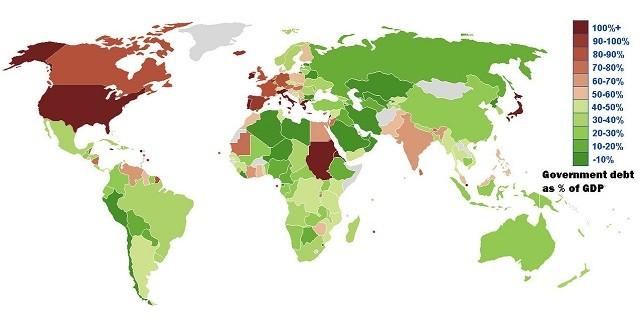 Dług publiczny w relacji do PKB (według MFW, 2012)
