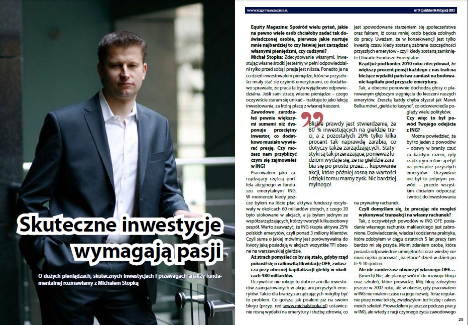 Mój pierwszy wywiad- analiza fundamentalna wywiad z Michał Stopka