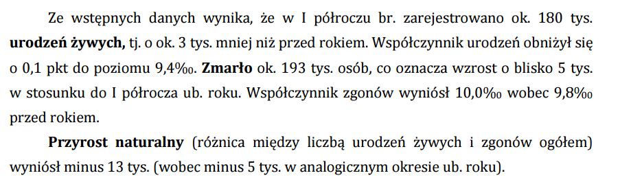 urodzenia i zgony w Polsce w pierwszym półroczu 2015