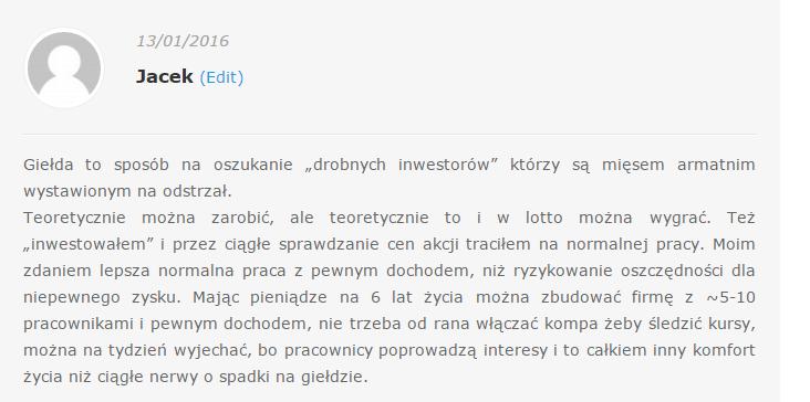 Jacek inwestowanie a spekulowanie komentarz