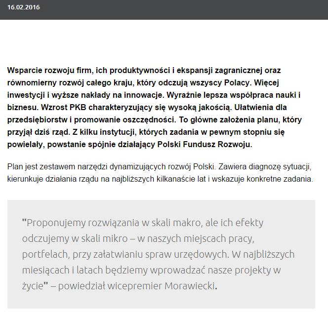 Plan Morawieckiego o co chodzi